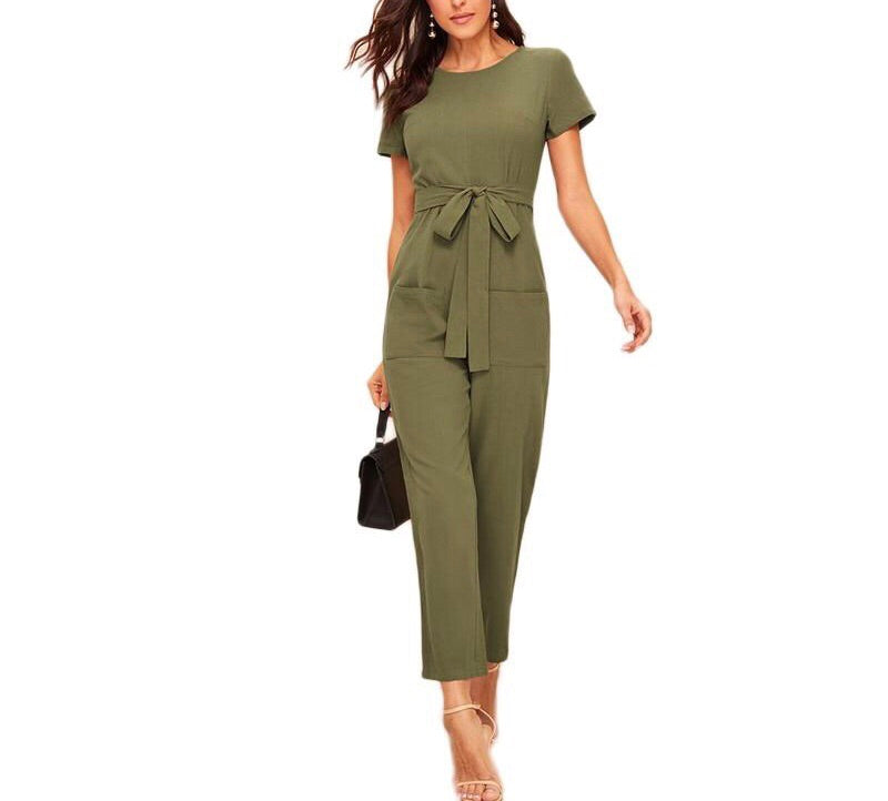 On Second Thought: Olive Cap Sleeve Belted Jumpsuit with Front Pockets