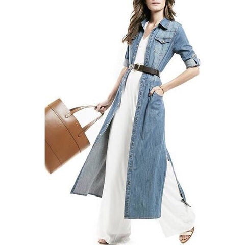 On Second Thought: Denim Dress w/ Side Hem Splits