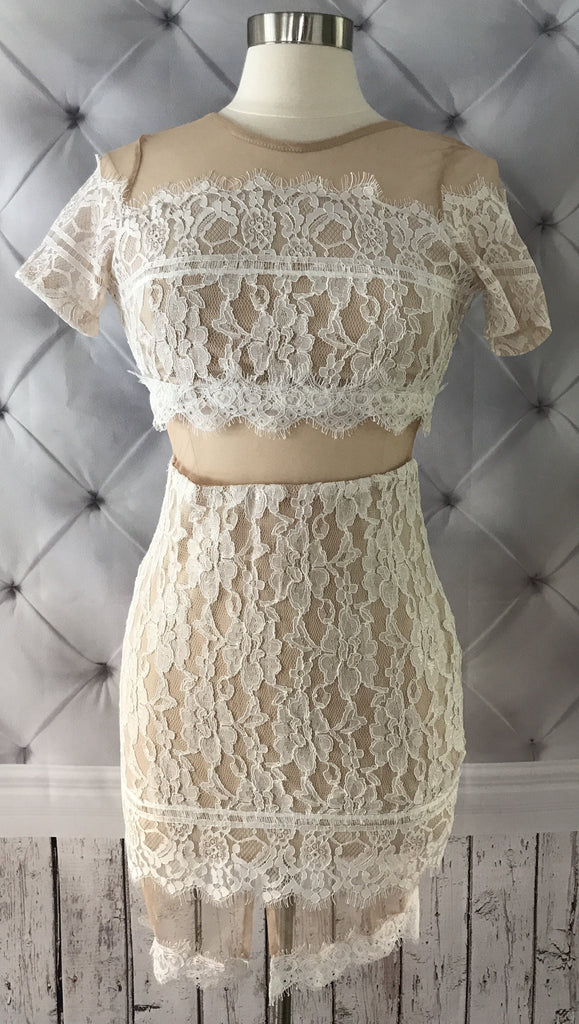 On Second Thought: NEW Crop Sheath Lace Dress in Nude