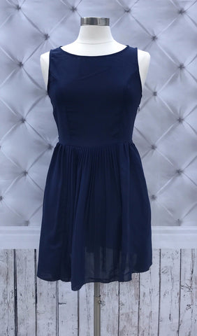 The Preloved Collection: Navy Pleated Dress w/ Keyhole Back