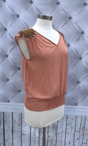 On Second Thought: Rose Pink Sleeveless Top w/ Golden Embroidery