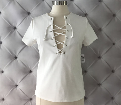 On Second Thought: White Lace up Tee