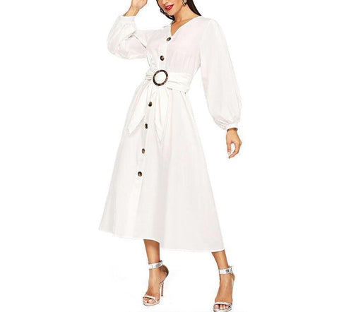 On Second Thought: Wide Belt Button Down V-Neck Midi Dress