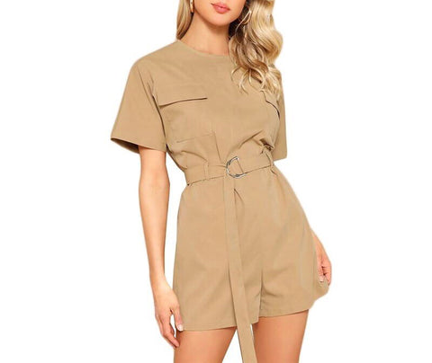 On Second Thought: Short Sleeve Mini Khaki Romper