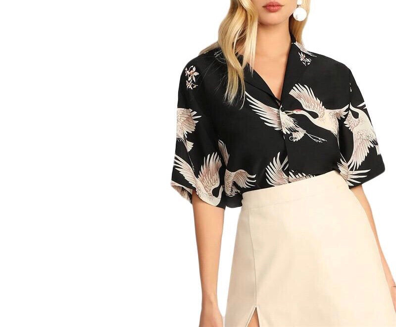On Second Thought: Crane Print Blouse
