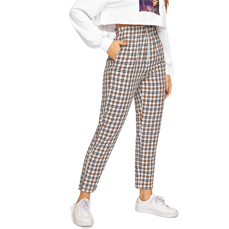 On Second Thought: High Waist Skinny Leg Brown Plaid Pant