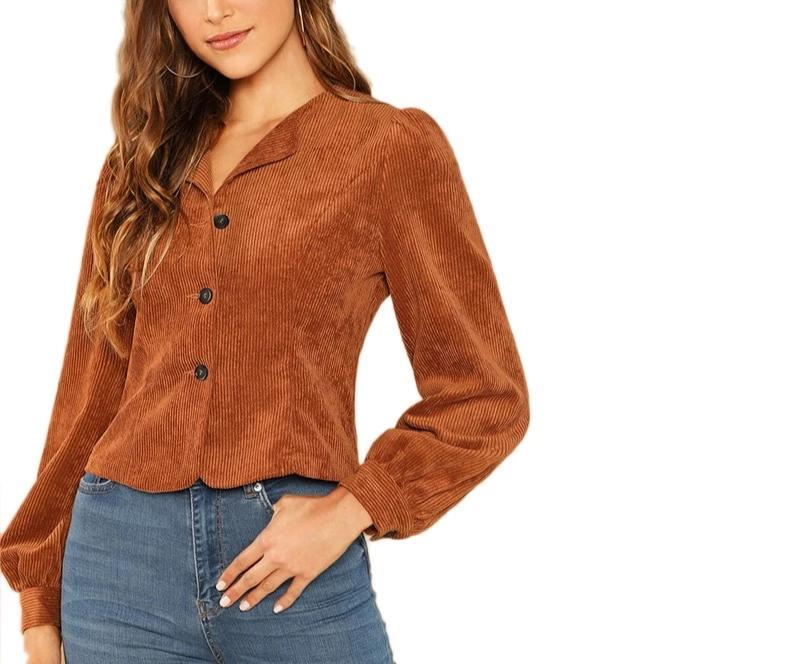 Corduroy Button Blose Jacket in Ginger Brown