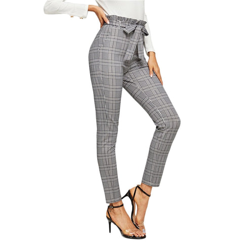 On Second Thought: High Waist Belted Cigarette Trouser in Plaid