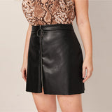 More Fabulous Collection: Faux Leather Mini Motor Skirt with Front O Ring Zipper Design
