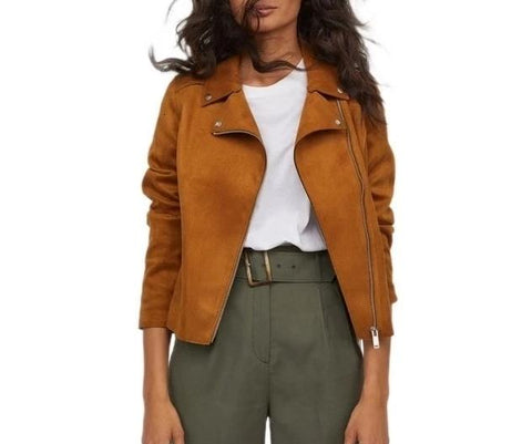 On Second Thought: Asymmetrical Zipper Suede Moto Jacket