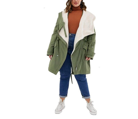 More Fabulous Collection: Faux Shearling Olive Drawstring Coat