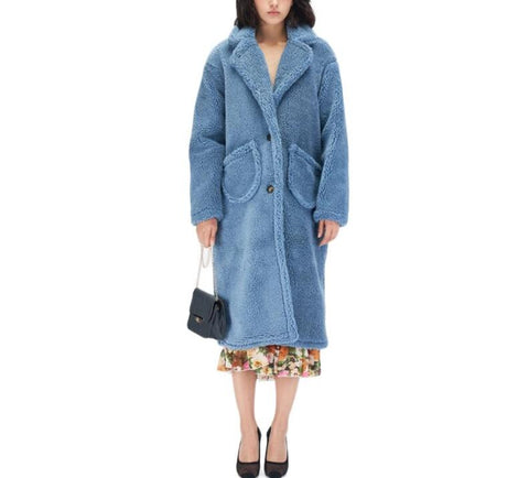 On Second Thought: Double Front Pocket Teddy Below Knee Length Coat in Brown or Blue