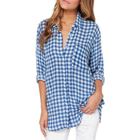 On Second Thought: Plaid Button Down Boyfriend Fit Blouse