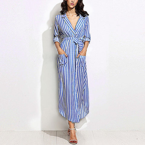 On Second Thought: Striped Long Maxi Shirt Dress Ladies