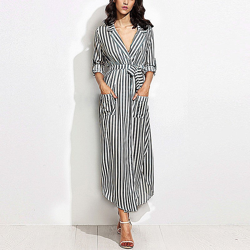 4ab664f80c4 On Second Thought  Striped Long Maxi Shirt Dress Ladies