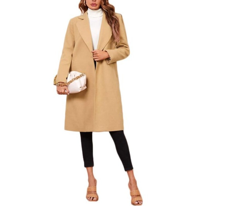 On Second Thought: Camel Lapel Collar Knee Length Coat