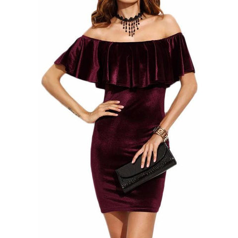 On Second Thought: Burgundy Velvet Off Shoulder Ruffle Dress