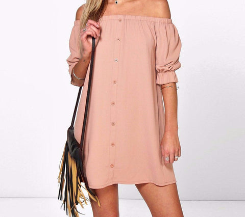 On Second Thought: Off the Shoulder Mini Dress