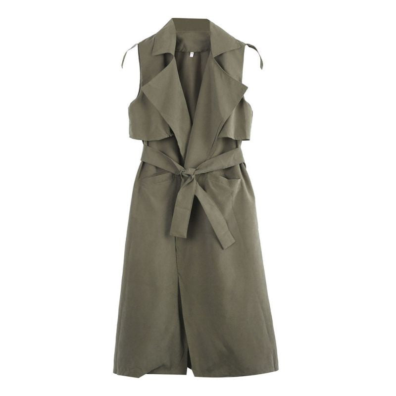 Olive Trench Sleeveless Vest