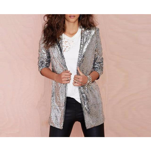 Sequin Blazer in Silver