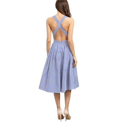 On Second Thought: Blue Striped Crisscross Back Dress
