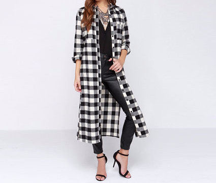 On Second Thought: Black and White Flannel Over Coat