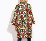 On Second Thought: Tribal Floral Three Quarter Sleeve Open Jacket