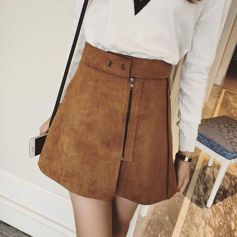 On Second Thought: Suede Leather-like Mini Skirt