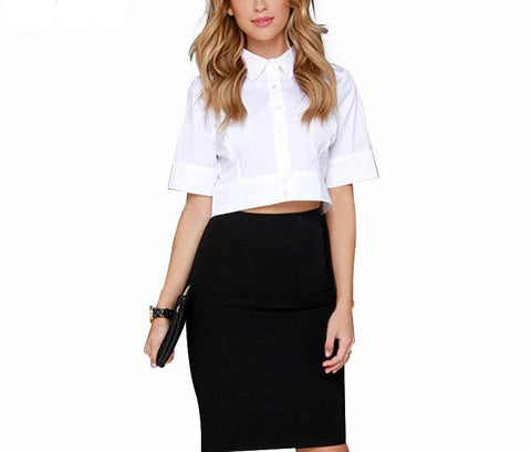 On Second Thought: Mid Cap Sleeve Button Down Crop Blouse in White
