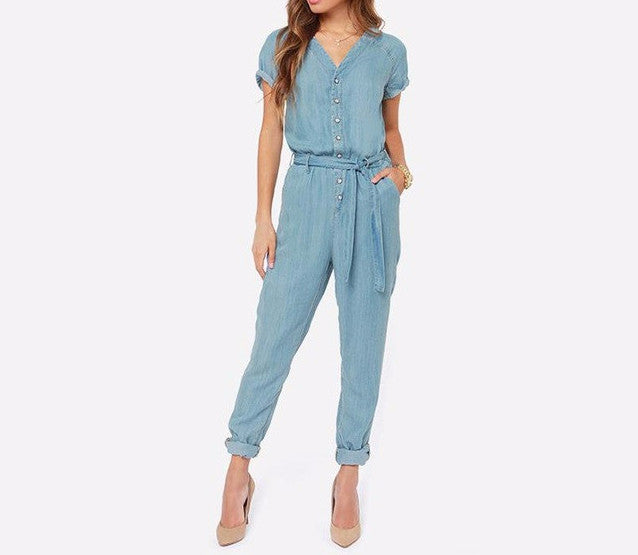 On Second Thought: V-Neck Denim Button Jumpsuit