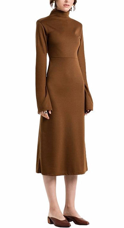 Mockneck Midi Dress in Brown