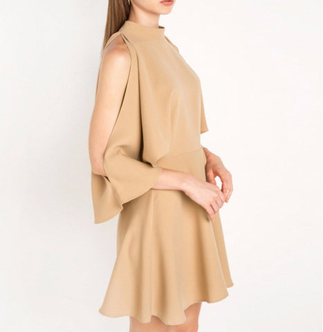 On Second Thought: Khaki Mini Dress with Batwing Slit Sleeves