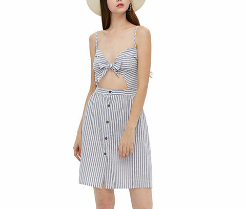 On Second Thought: Striped Cut-Out Tie-Front Dress