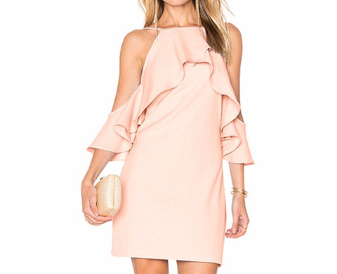 On Second Thought: Off the Shoulder Dress in Pink