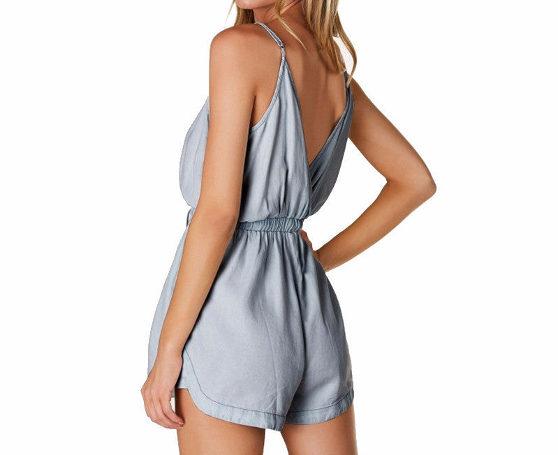 On Second Thought: Shorts Summer Romper with Deep V-Neck Plunge in Back