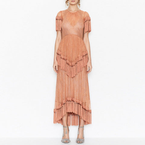 On Second Thought: Lace Tassel Dress with High Low Fringe