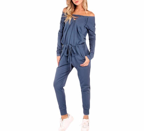 On Second Thought: Athleisure Longsleeve Jumpsuit with Tie Front