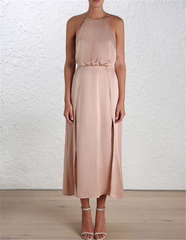On Second Thought: Sleeveless Satin Dress with Side Splits