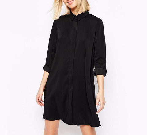 On Second Thought: Chiffon Button Down Tunic Shirt Dress