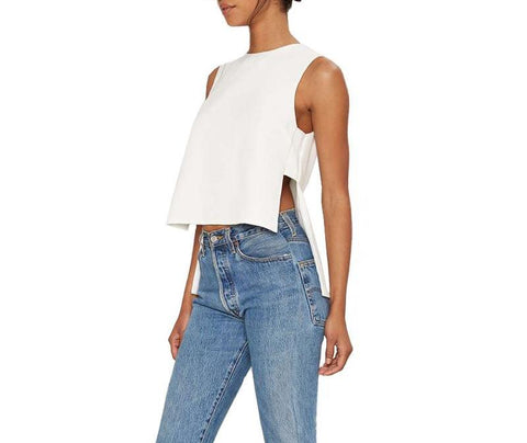 On Second Thought: White Sleeveless Cut Out Top in Asymmetric High Low Crop