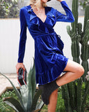 Velvet Ruffle Wrap Dress in Deep Blue