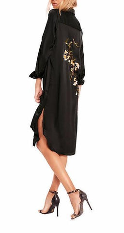 On Second Thought: Button Down Shirt Dress with Embroidery Back and Split Sides