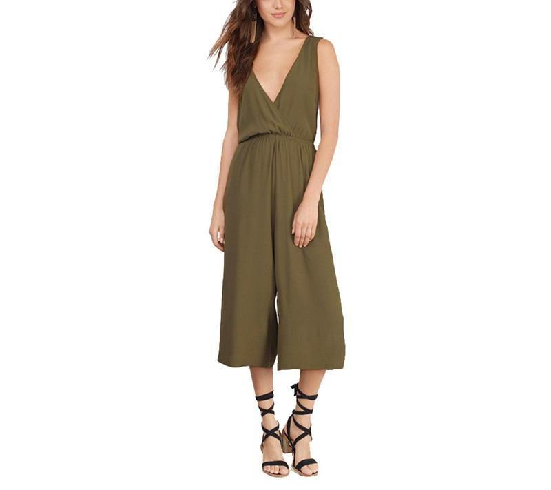 Deep V-Neck Capri Jumpsuit