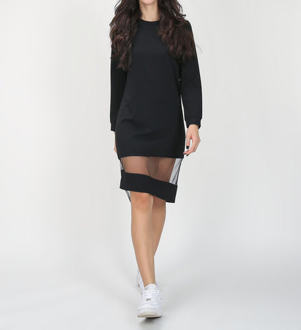 On Second Thought: O-Neck Mini Mesh Dress in Black