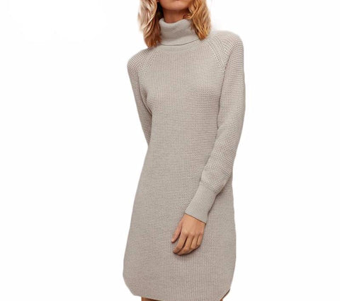 On Second Thought: Turtleneck Waffle Sweater Dress in Dove Gray