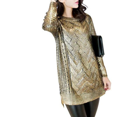 On Second Thought: Gold Metallic Sweater