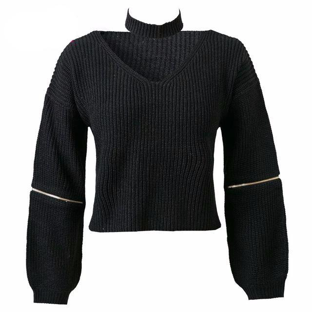 On Second Thought: V-Neck Sweater with Zipper Detail at Sleeve