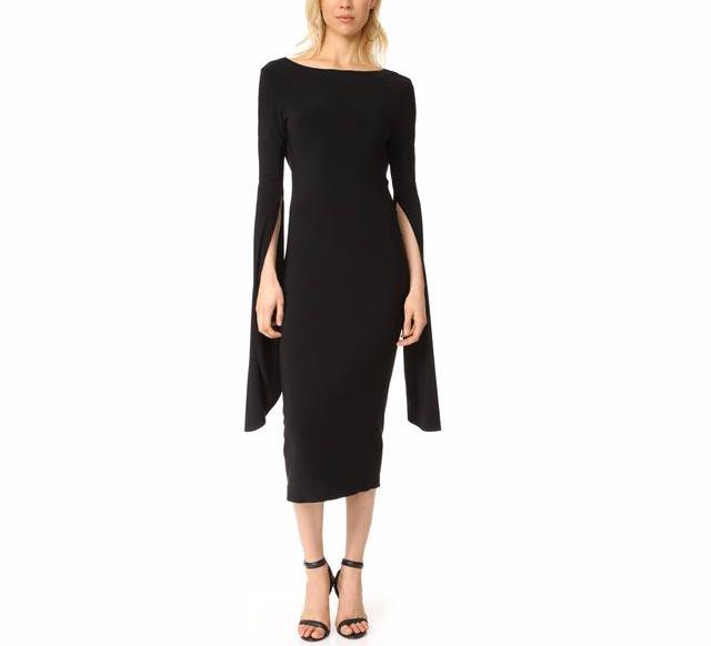 Black Bodycon Dress with Long Cape Sleeves with V Back