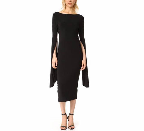 On Second Thought: Black Bodycon Dress with Long Cape Sleeves
