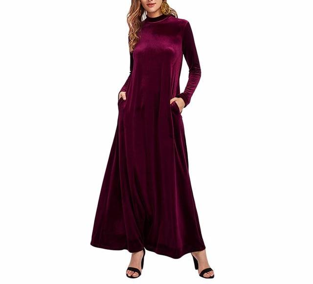 Burgundy Velvet Floor Length Dress